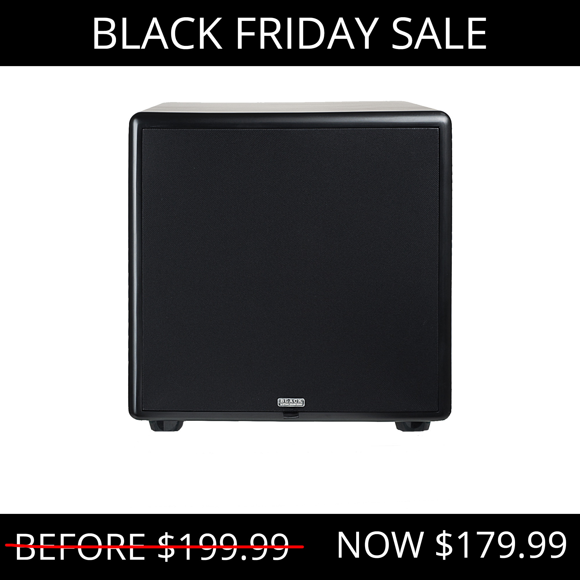 """12"""" High Definition Powered 300W Home Theater Subwoofer Black Wood Veneer, Single Drive - Acoustic12"""