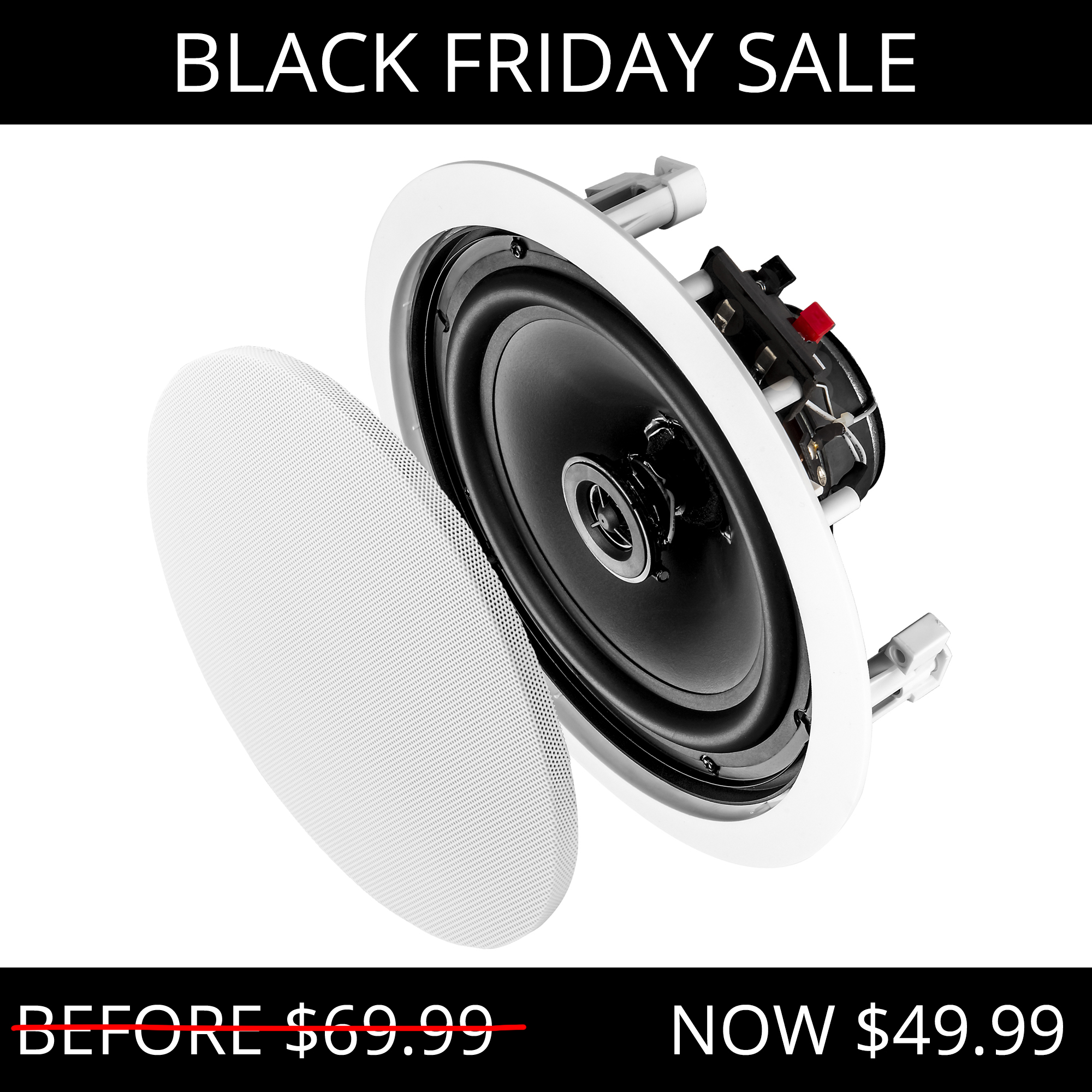 """8"""" Contract Series 140W Flush Mount 2-Way In-Ceiling Speaker Pair - ICE800"""