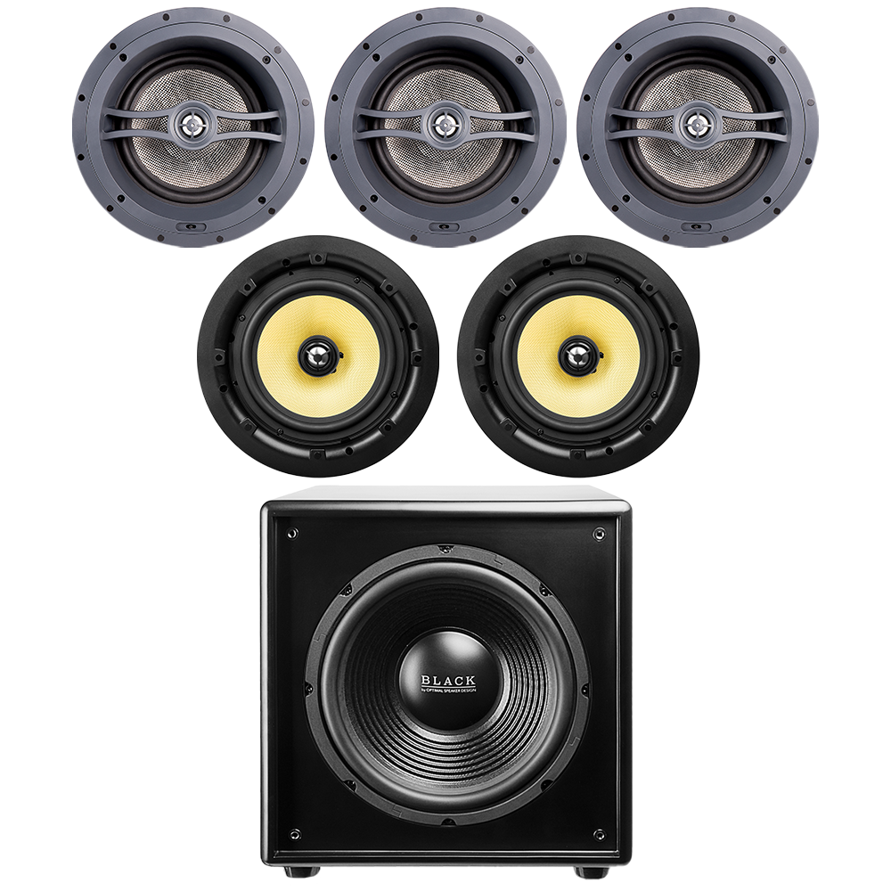 """(3) 8"""" Angled LCR Speakers ACE870, (2) 8"""" Kevlar® Speakers ACE850 + (1) 12"""" Powered Subwoofer"""