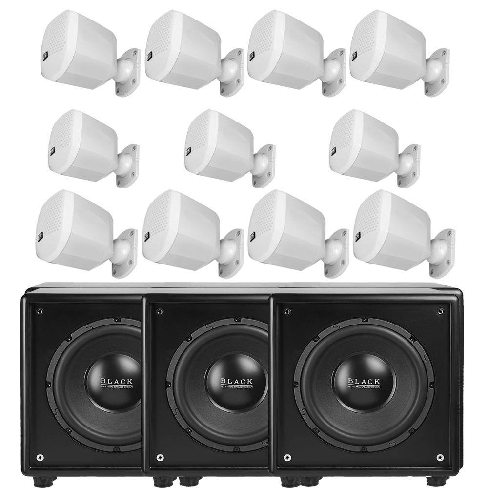 11.3 System (11) Nero Mini White Satellite Speakers w/ (3) Acoustic10 Powered Subwoofers