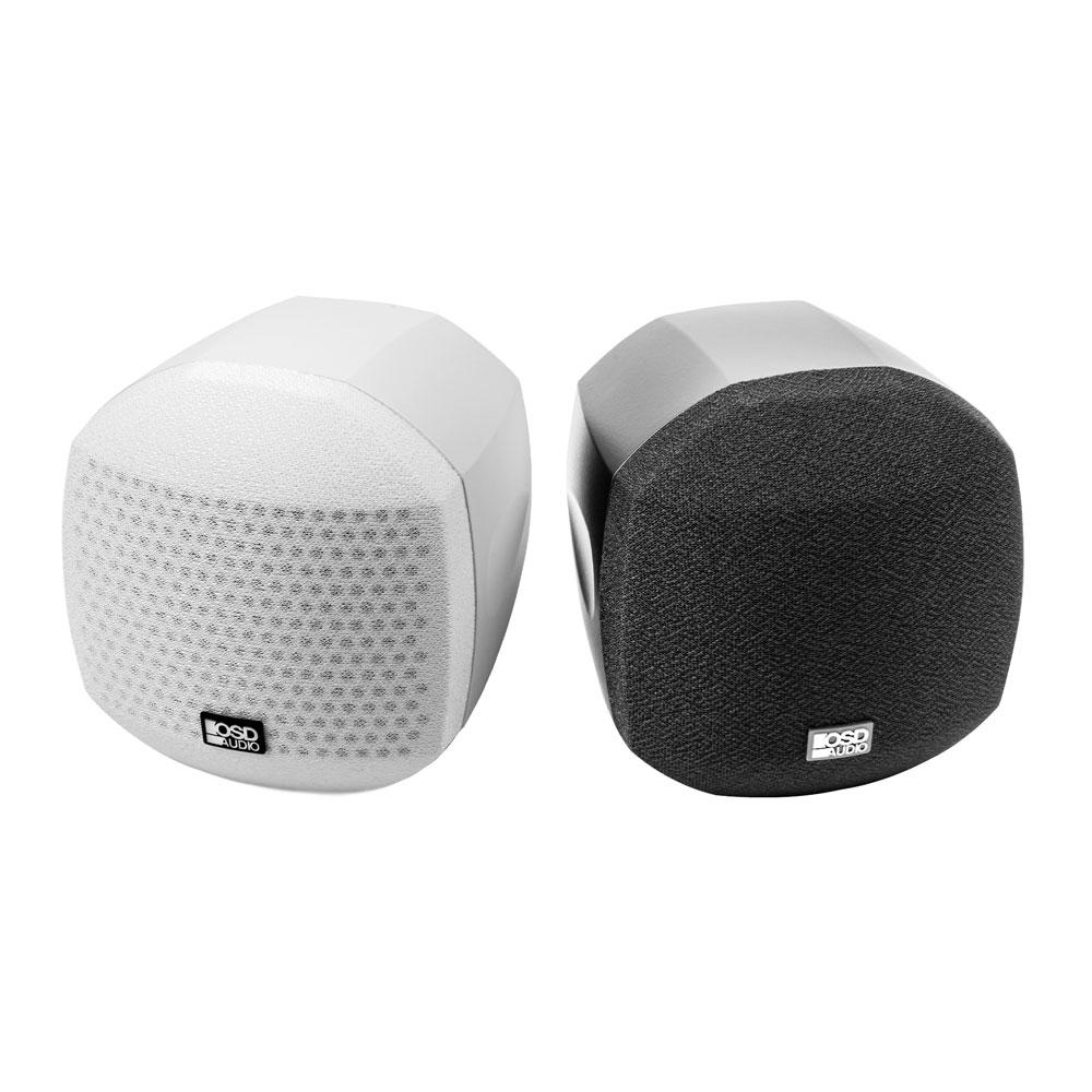 "Nero 3"" Cube Speaker Mountable Swivel Home Theater Setup 25W RMS Power Black/White Single"