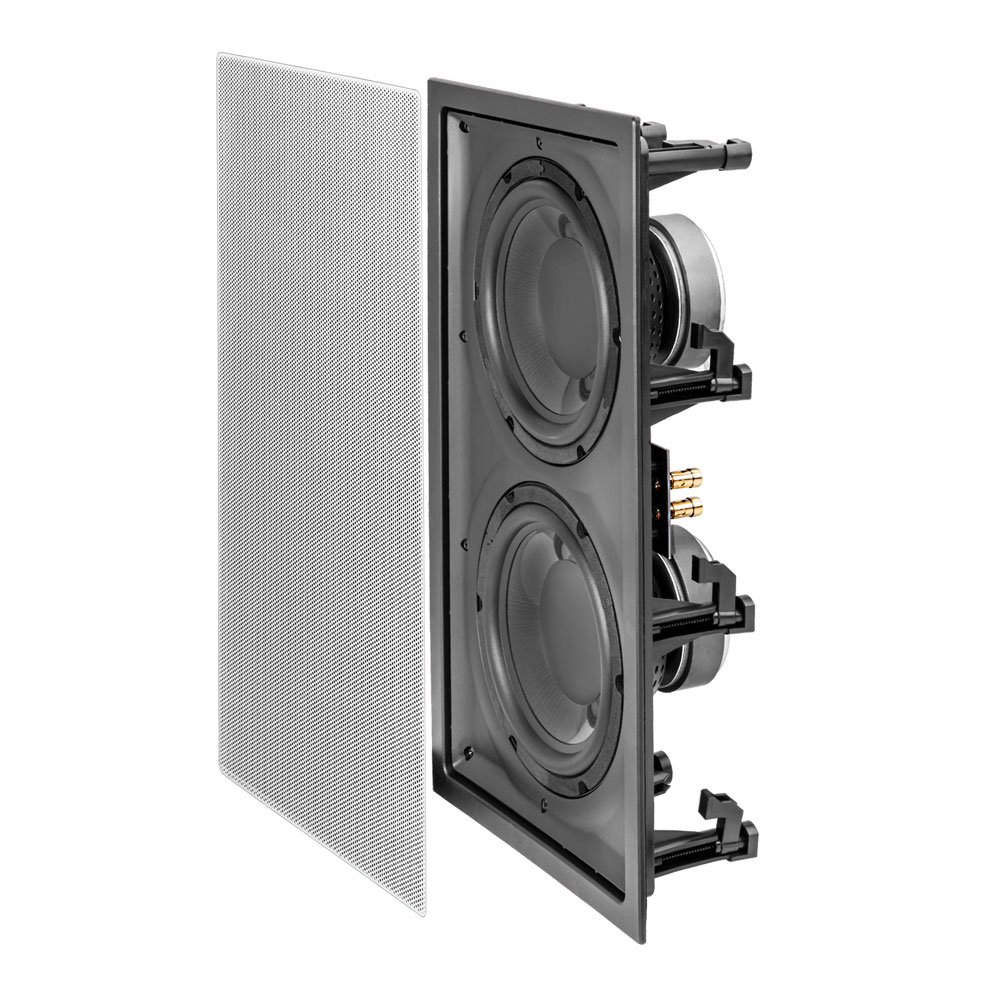 """OSD Black In Wall 300W Subwoofer Dual 8"""" Graphite Cones Magnetic Grill IWSDual8"""