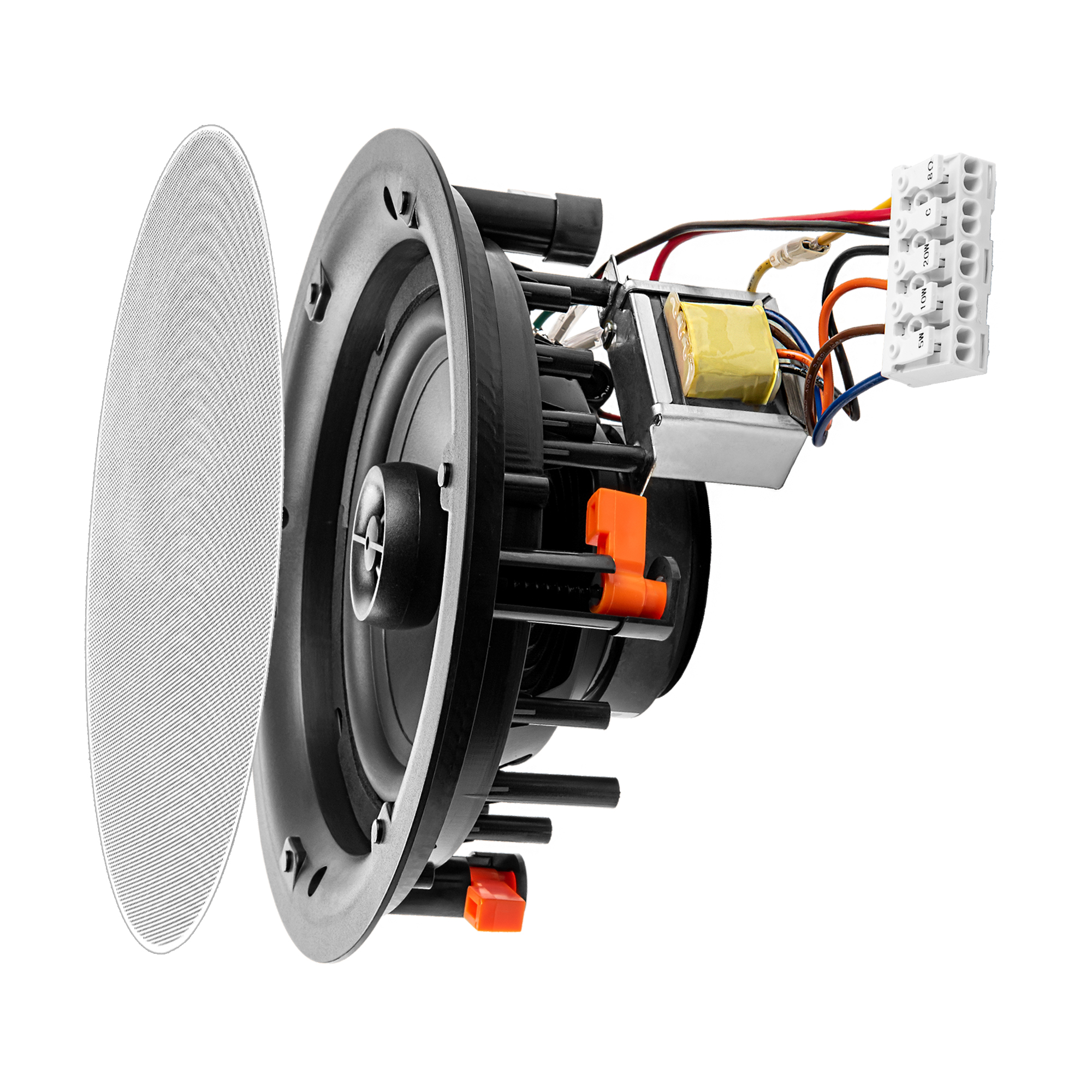 "ACE640T 6.5"" 100W Trimless 70V/8-ohm Commercial Ceiling Speaker, Easy Connect Terminal Block, Single"