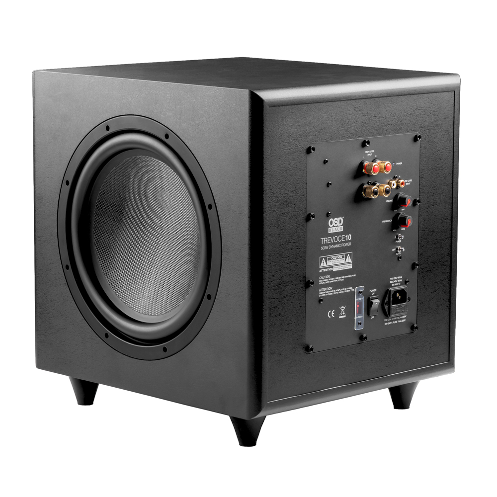 OSD Black Trevoce10 Triple 10 Powered Subwoofer 500W Faux Leather