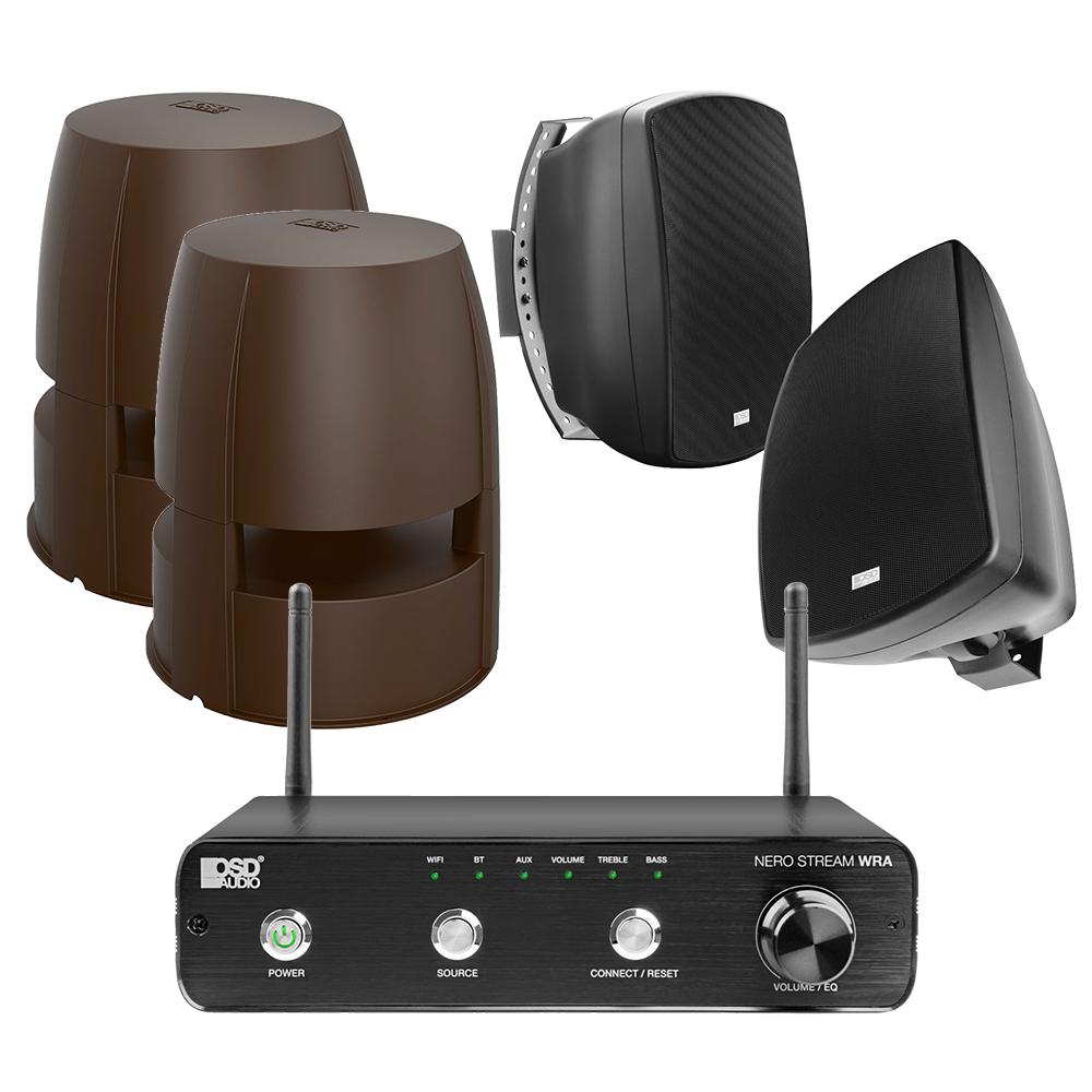 "NERO Stream WRA Amplifier + 2x Forza 850 Omni Speakers + AP525, 5.25"" Patio Speaker Pair in Black"