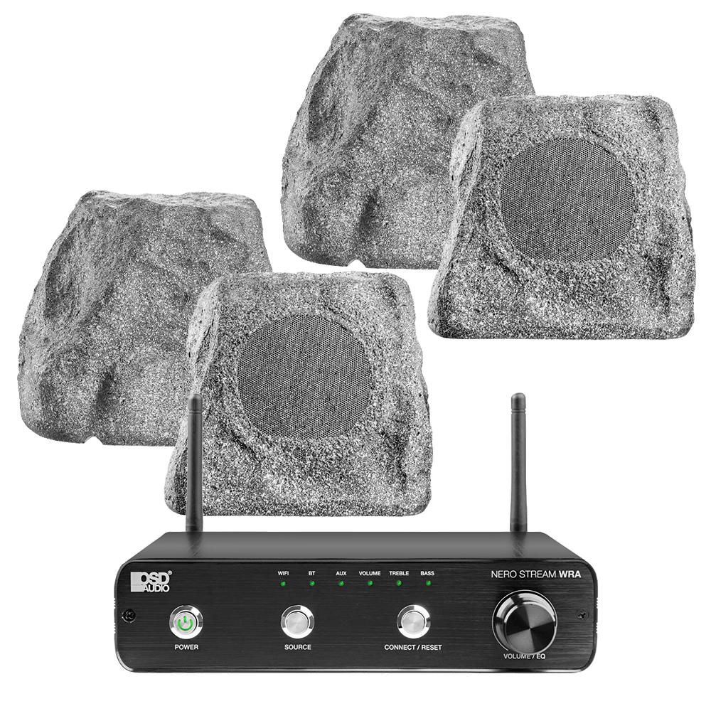 "NERO Stream WRA Amplifier + x2 Pairs RX550, 5.25"" 100W Outdoor Weather Resistant Rock Speaker Grey"