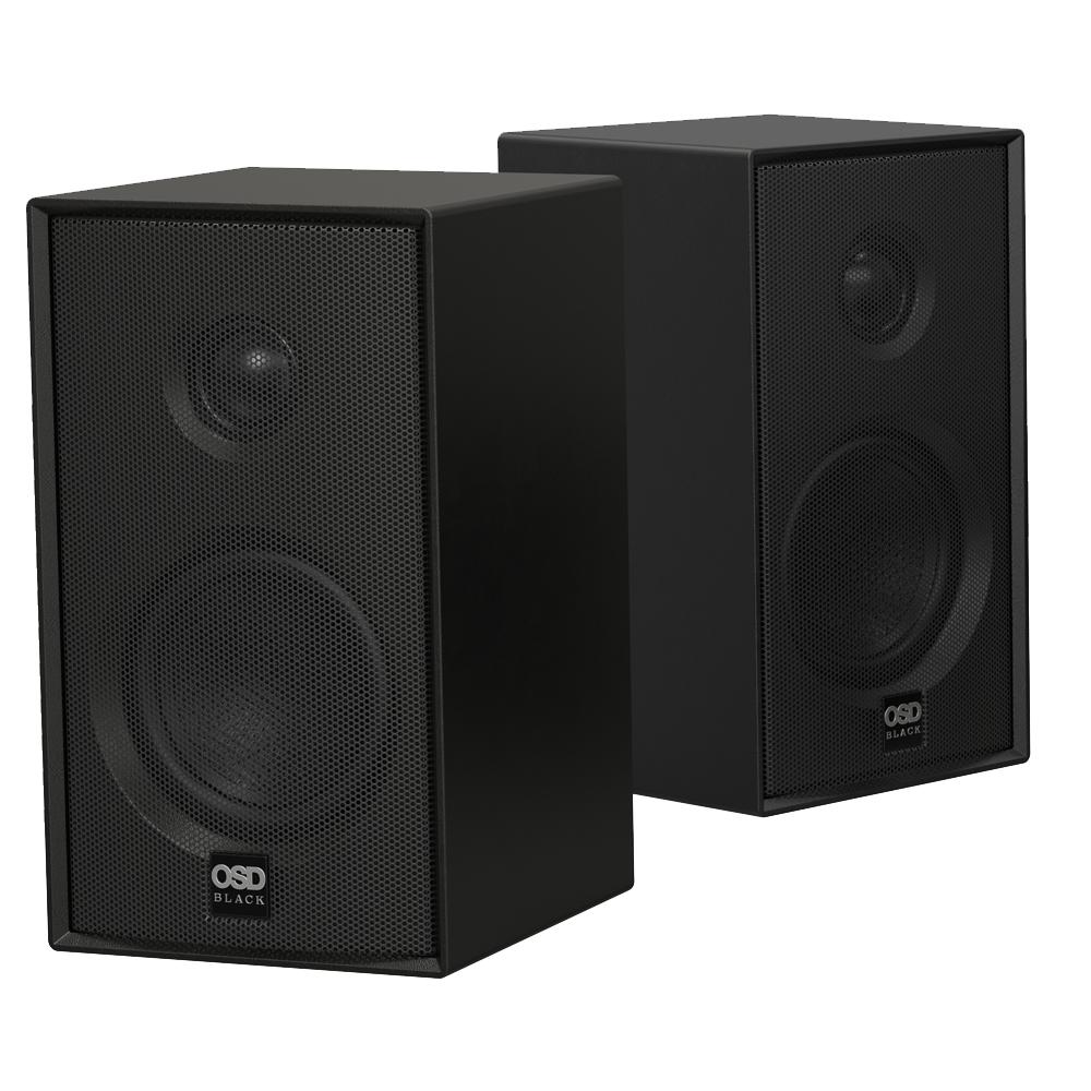 "OSD Nero Cube Speaker Pair with 3"" Glass Fiber Woofer & 1"" Silk Dome Tweeter - MODQ2 Black"