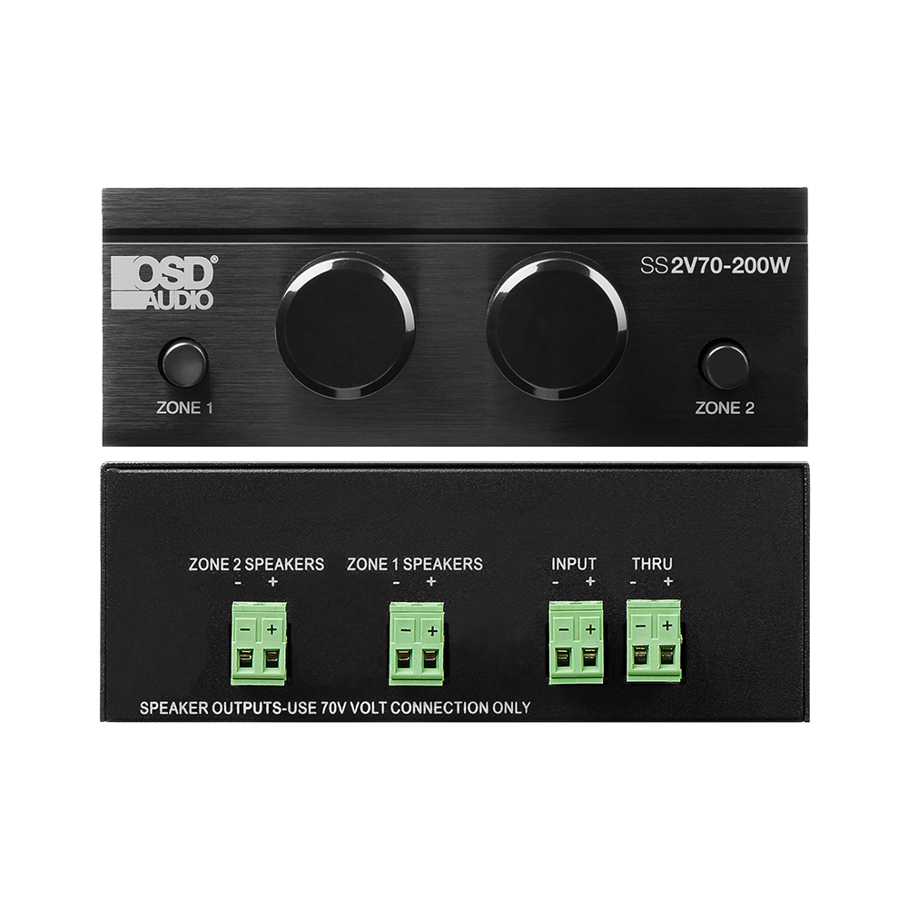 SS2V70 200W 70V 2 Mono Channels/Constant Voltage Systems/Dual Zone Speaker Selector, 200W/Channel