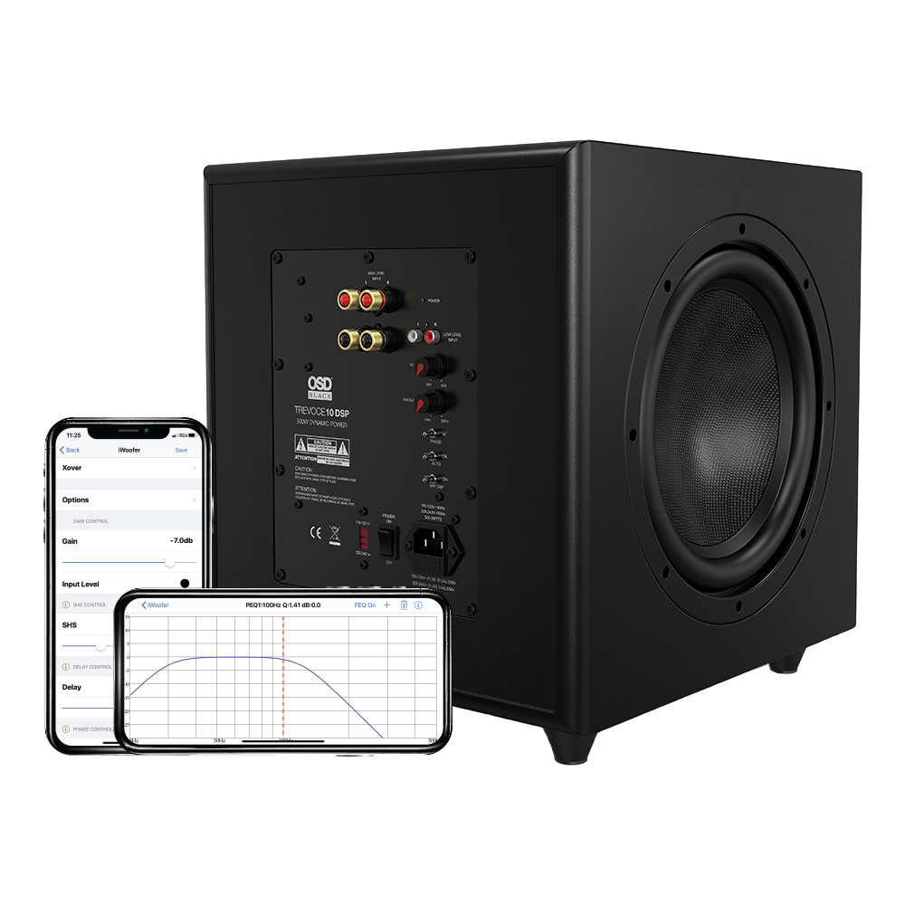 """OSD Trevoce 10 EQ DSP - 10"""" Triple Driver Powered Subwoofer 500W, DSP App Control, Faux Leather"""