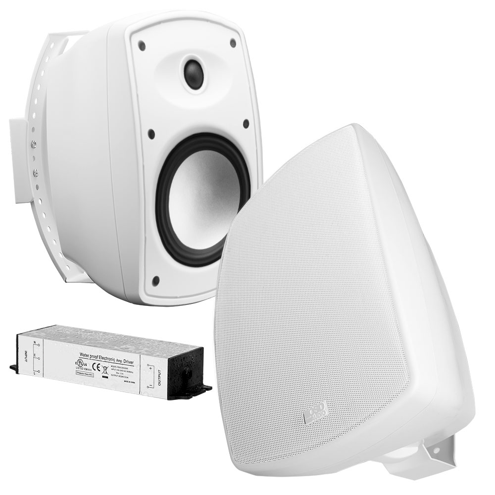 "6.5"" Bluetooth® Wireless Patio Speaker Pair w/ Waterproof Power Supply, Black or White - BTP650"