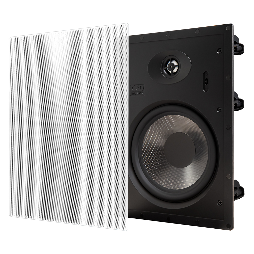 """T83 8"""" In-Wall Speakers 1"""" Aluminum Dome Tweeter, 12dB Crossover & Contour Switch, Pair Black Series"""