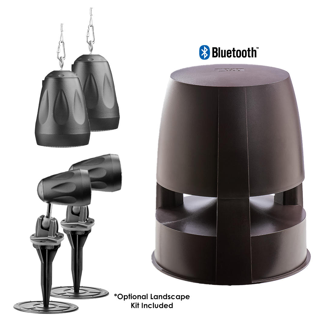 "BOM4.1.2 Bluetooth® 8"" Subwoofer w/Built in Amp + x4 FORZA-4BLK Hanging/Landscape Pendant Speakers"