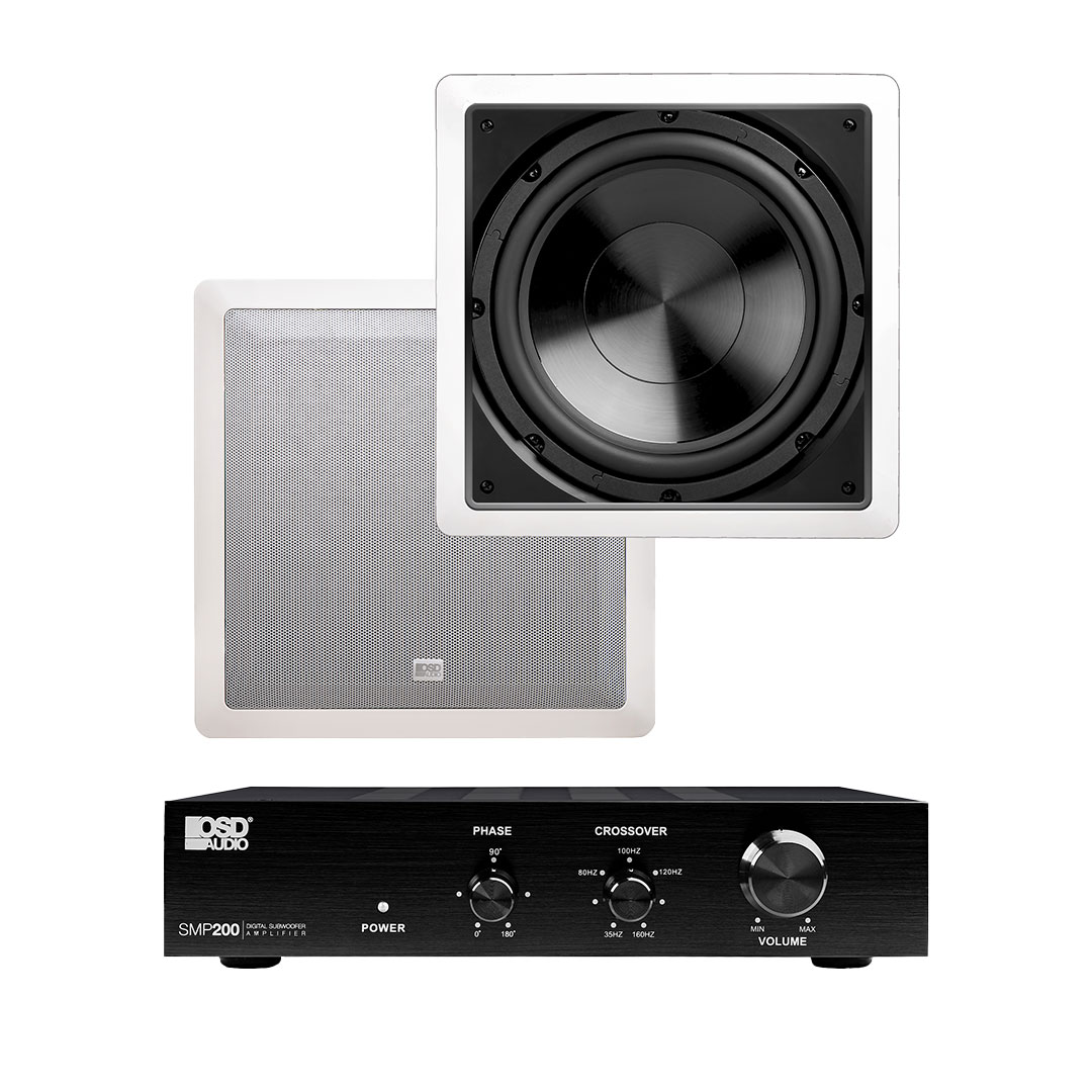 "200W Mono-Channel Class D Subwoofer Amplifier + 10"" 200W Pro Series In-Wall Home Theater Subwoofer"