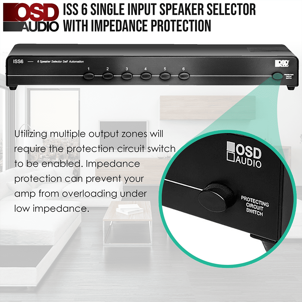 ISS6 6-Channel High Power Stereo Speaker Selector Switch with Impedance Match...