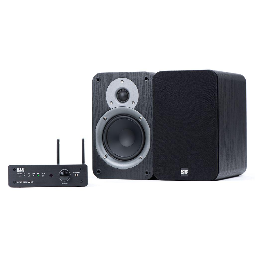 200W Hi-Fi DAC Class D Amplifier, WiFi & Bluetooth® Wireless W/ 100W Studio5 Bookshelf Speaker Pair