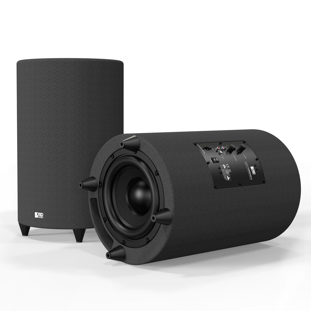 "10"" Ported Cylinder Cabinetry Home Theater 400W Class D Powered Subwoofer - NERO-TUBEBASS10"